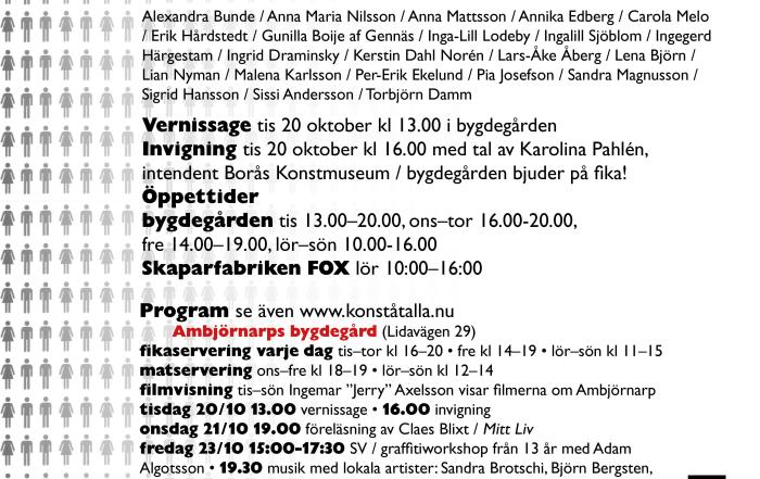 Vernissage tisdag 20 oktober för Konst åt alla i Ambjörnarp!